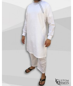 Pakistani set linen white with black embrodery and sarouel straight cut