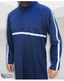 Qamis Athletic bleu marine satiné et ruban blanc