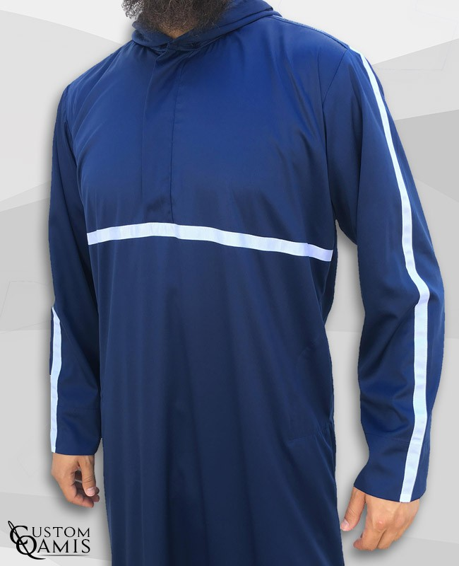 Qamis Athletic navy blue Satin And White Ribbon
