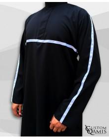 Qamis Athletic Platinium noir et ruban blanc
