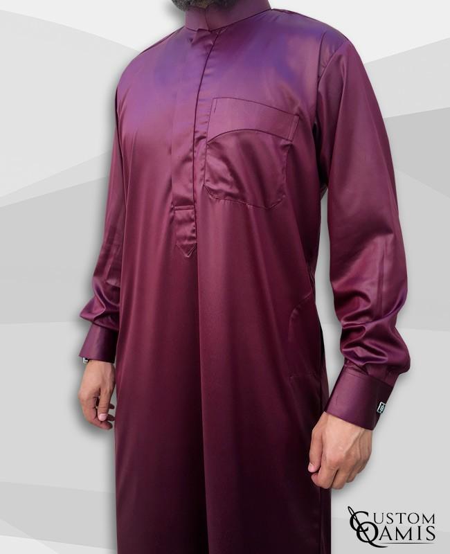 Abadi Classic Thobe Burgundy Precious Satin Fabric