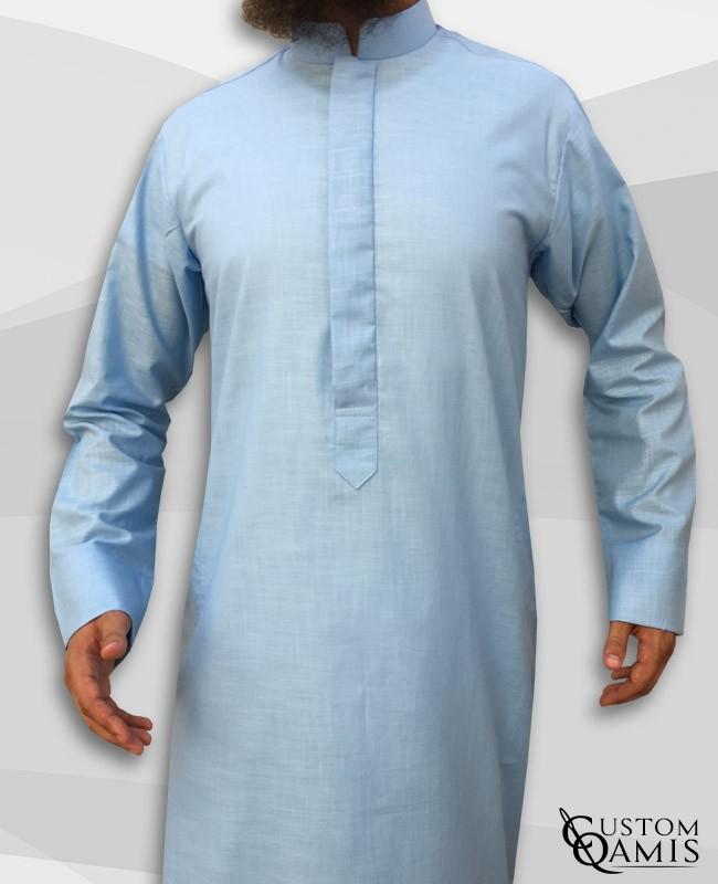 Abadi Classic Thobe Dark Sky Blue Linen Fabric