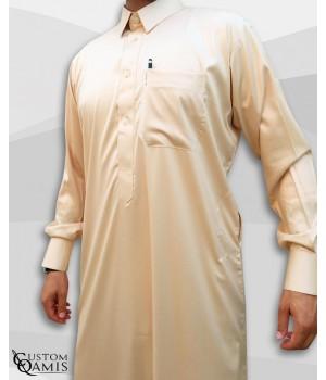 Classic Qatari Thobe beige Precious Fabric