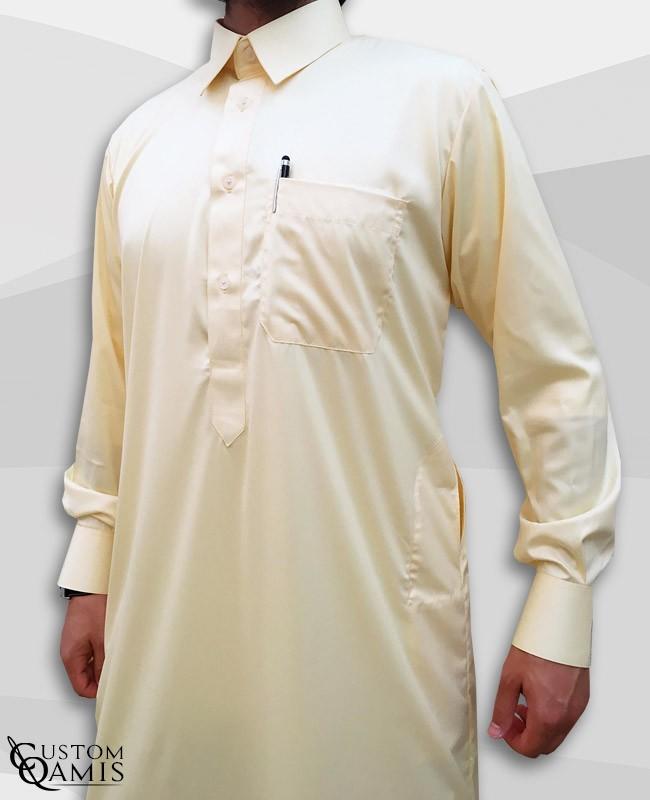Classic Qatari Thobe light yellow Precious Fabric