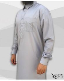 Qamis Qatari Tissu Platinium gris clair
