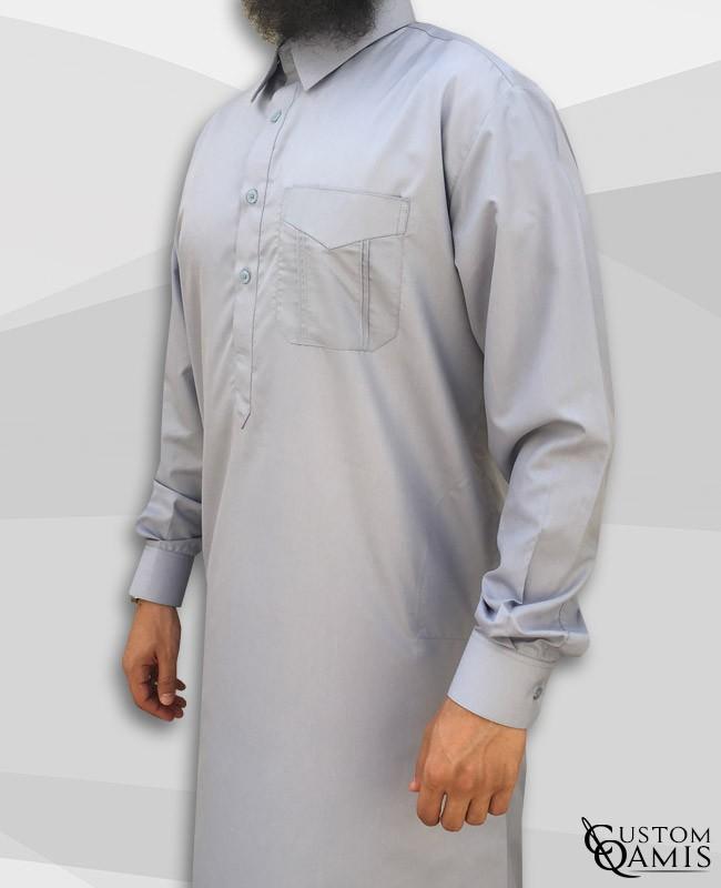 Classic Qatari Thobe light grey Platinium Fabric