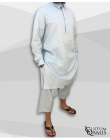 Ensemble Pakistannais en lin bleu ciel clair à col avec serwel coupe qandrissi