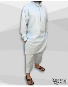 Ensemble Pakistannais en lin bleu ciel clair à col avec serwel coupe droite
