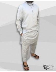 Ensemble Pakistannais en lin gris clair à col avec serwel coupe droite