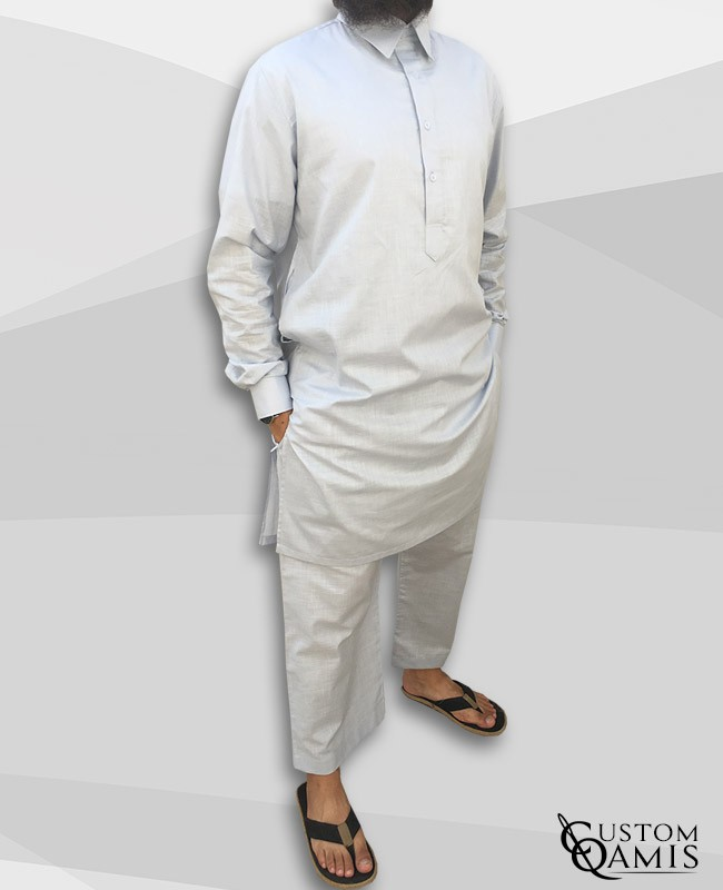 Pakistani set linen light grey with collar and sarouel straight cut