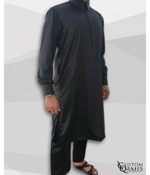Pakistani set black with Qatari collar and sarouel straight cut