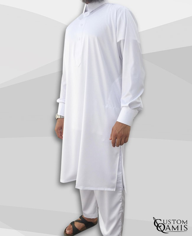 Pakistani set white with Qatari collar and sarouel straight cut