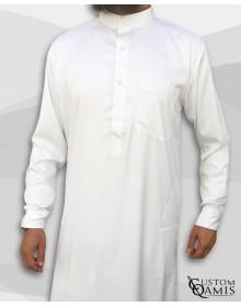 Qamis Saoudien Tissu Spring Blanc avec Manchettes souples