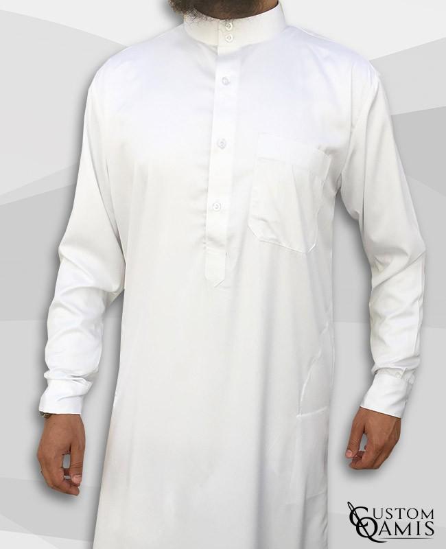 Saudi thobe white spring fabric with Flexible cuffs