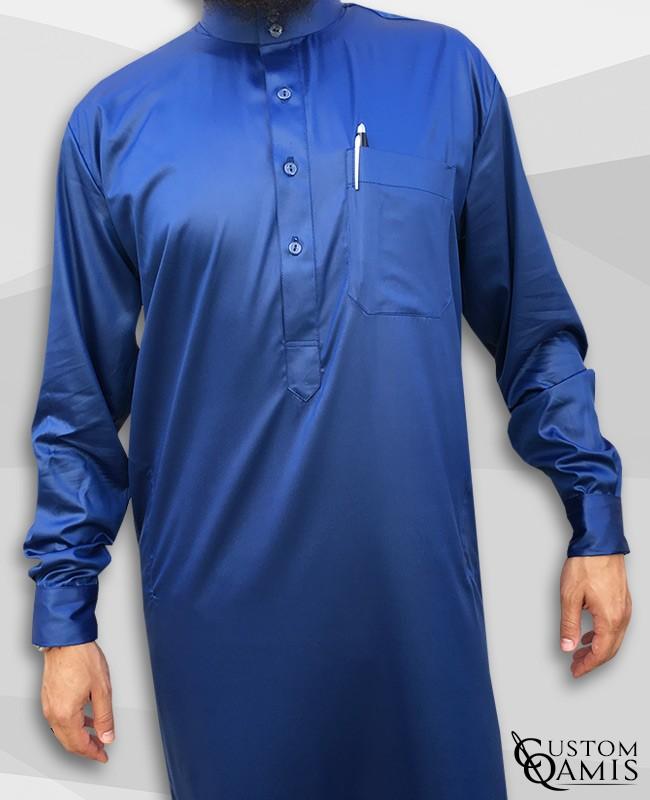 Saudi thobe Royal blue satin with Flexible cuffs