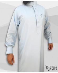 Qamis Saoudien Tissu Platinium Bleu Ciel clair
