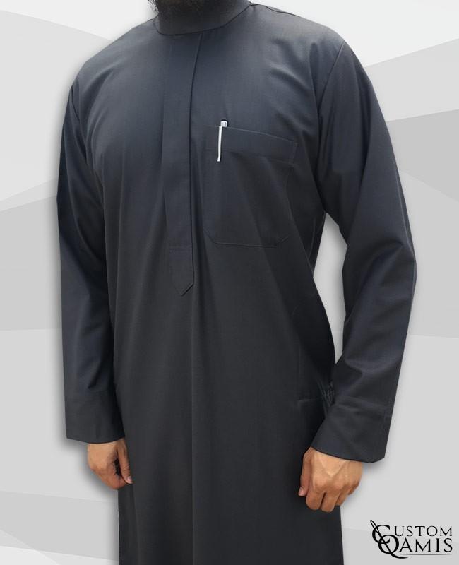 Qamis Saoudien Tissu Cashmere Wool Gris foncé