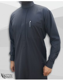 Qamis Saoudien Tissu Cashmere Wool Gris