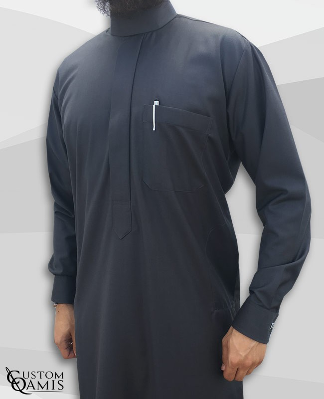 Saudi thobe Cashmere Wool Dark Grey fabric  with cuffs