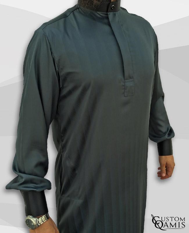 Qamis Elegance tissu Royal vert pétrole à rayures et Precious noir satiné