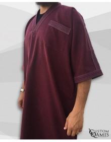 Gandoura tissu Imperial Bordeaux