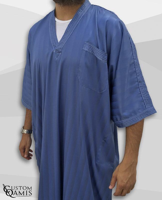 Gandoura bleu indigo à rayures tissu Royal