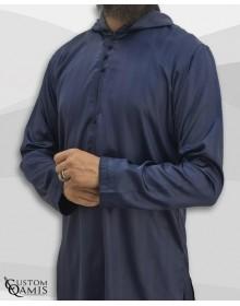 Djalabiya tissu Royal : Bleu marine à rayures