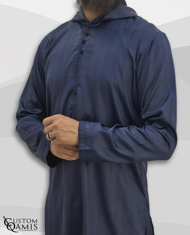 Djalabiya tissu Royal Bleu marine à rayures