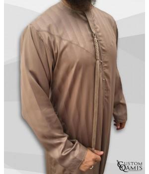 Emirati Thobe fabric Royal : Caramel with strips