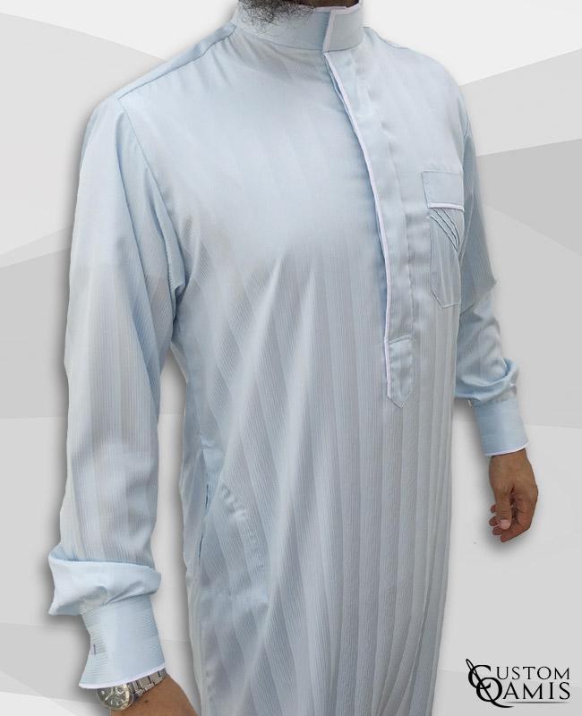 Edge thobe fabric Royal : Bluish Grey light with strips and Precious white satin