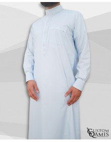 Qamis Edge tissu Platinium bleu ciel  et blanc