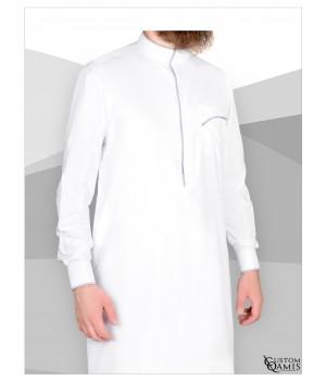 Edge thobe fabric Platinium white and light grey