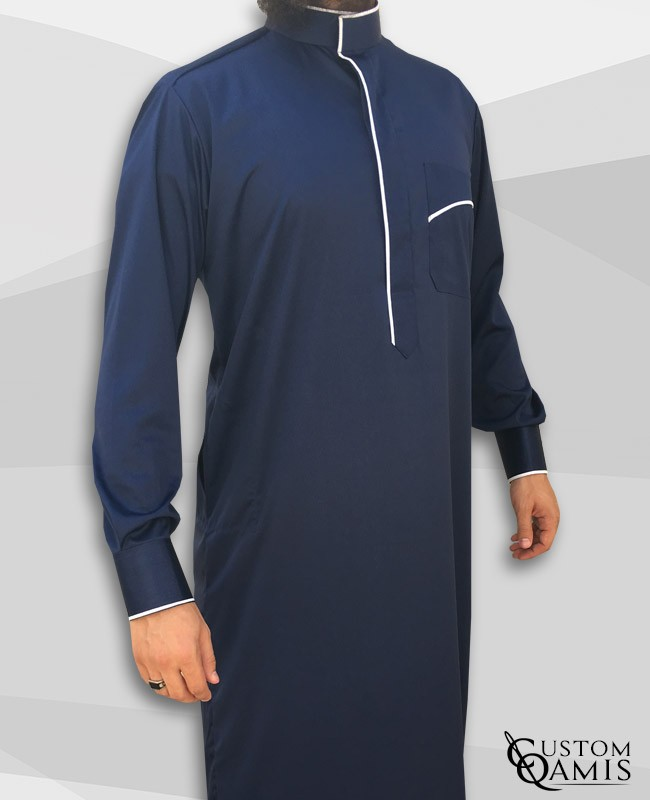 Edge thobe fabric Platinium navy blue and white model 2