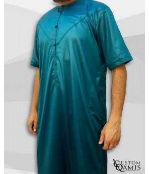 Emirati Thobe bluish green satin with short sleeves