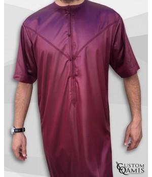 Emirati Thobe burgundy satin with short sleeves