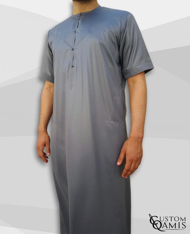 Emirati Thobe grey matt with short sleeves