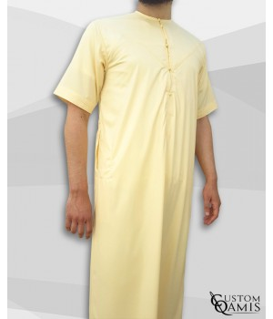 Emirati Thobe light yellow satin with short sleeves