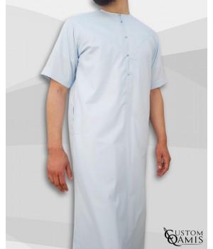 Qamis Emirati tissu Platinium bleu ciel manches courtes