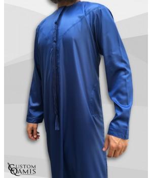 Emirati Thobe fabric Precious royal blue satin with Tarboucha (lash) detachable