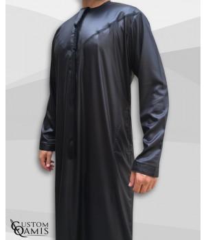 Emirati Thobe fabric Precious black satin with Tarboucha (lash) detachable