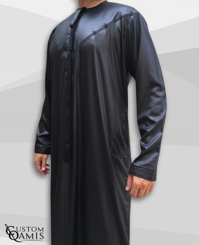 Emirati Thobe fabric Precious black satin with Tarboucha (lash) detachable
