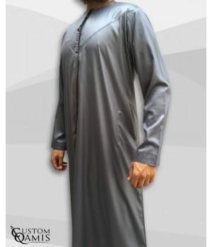 Emirati Thobe fabric Precious grey satin with Tarboucha (lash) detachable