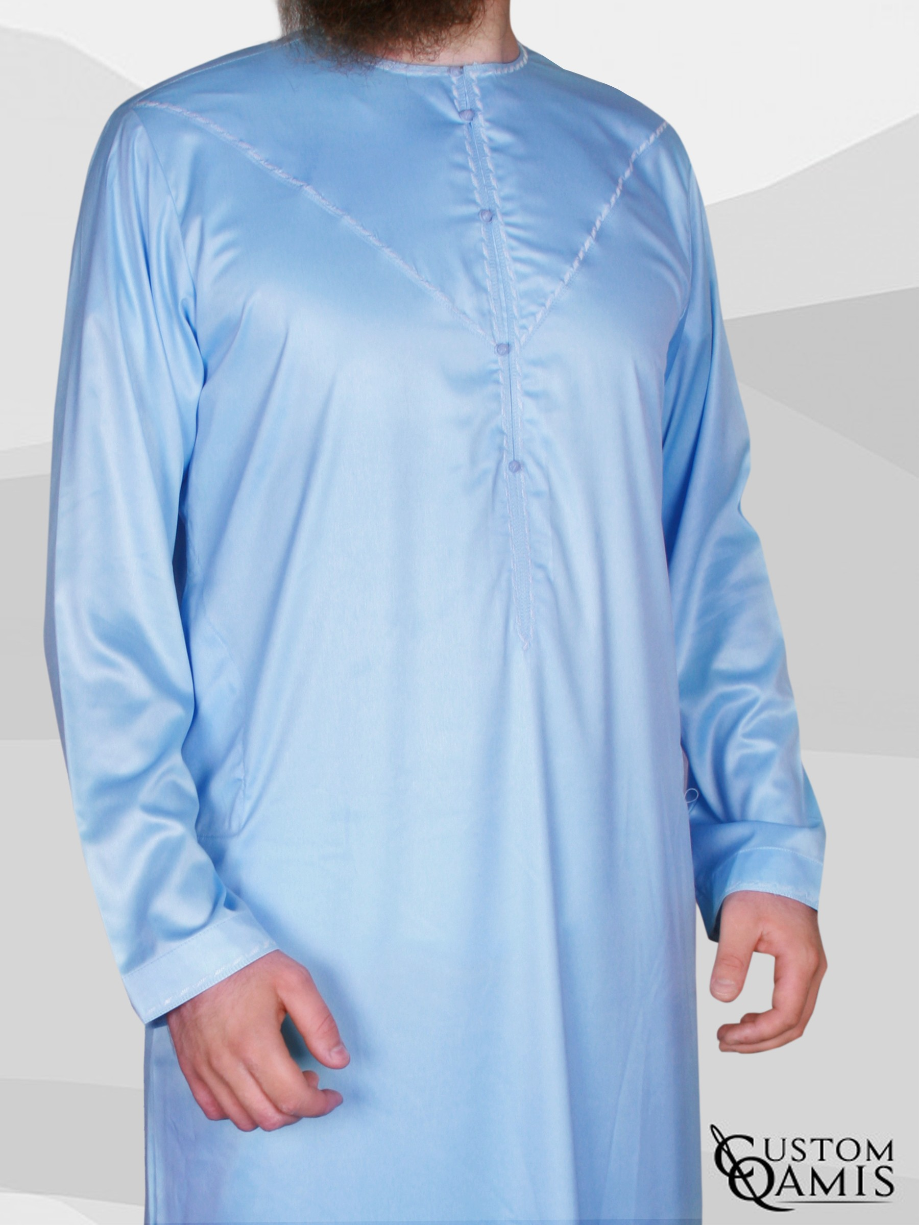 Emirati Thobe fabric Precious sky blue satin with white embroidery