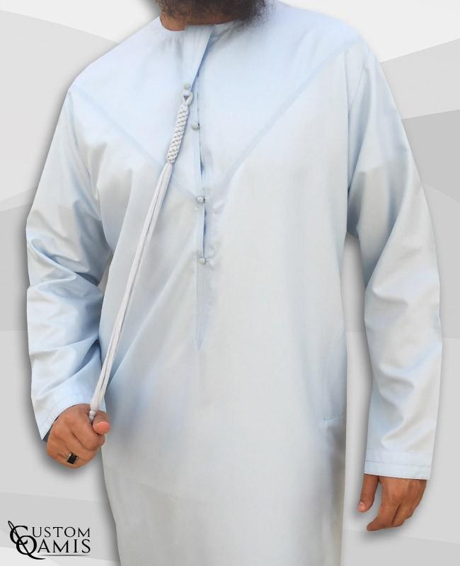 Emirati Thobe fabric Platinium sky blue with Tarboucha (lash) detachable