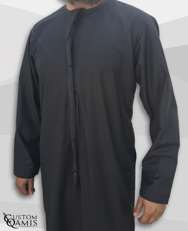 Emirati Thobe fabric Cashmere Wool Dark Grey with Tarboucha (lash)