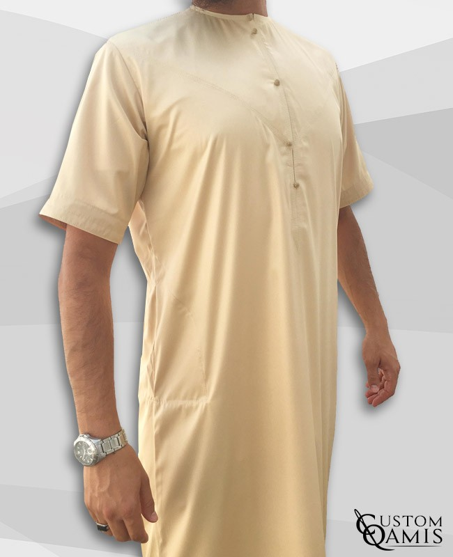 Emirati Thobe beige satin with short sleeves