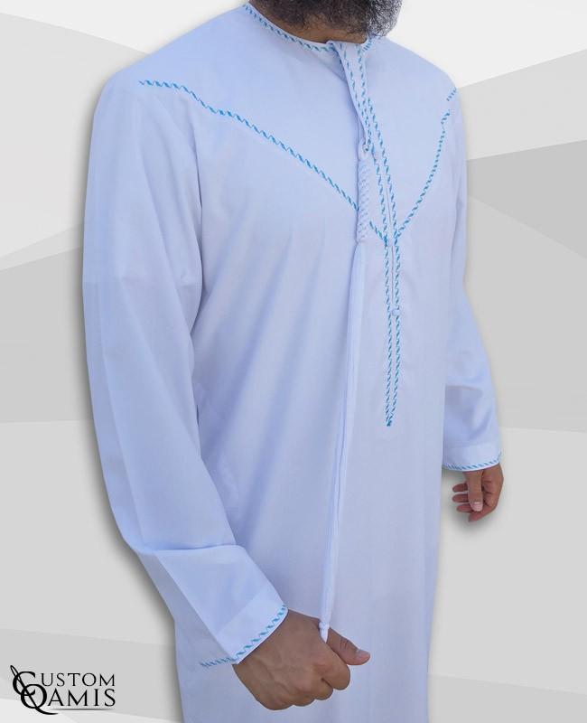 Emirati Thobe fabric Precious white satin with Tarboucha (lash) detachable and Embroidery blue