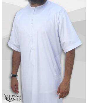 Qamis Emirati blanc satiné manches courtes