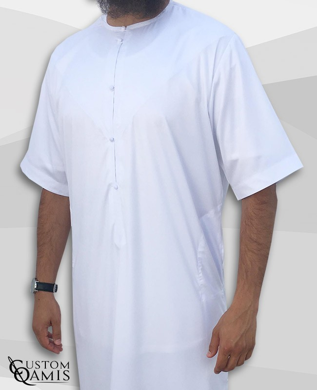 Emirati Thobe white satin with short sleeves