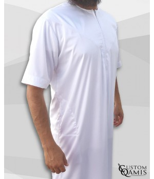 Emirati Thobe white satin with short sleeves with zip (zipper)
